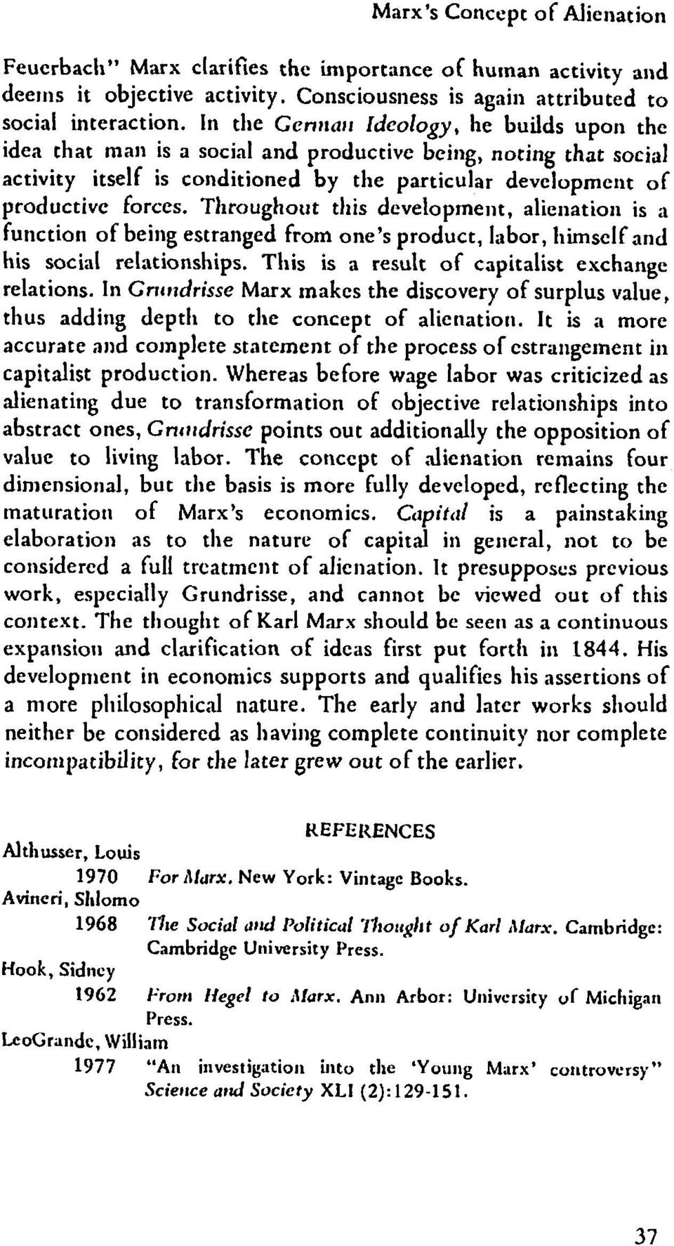 marx on alienation essay