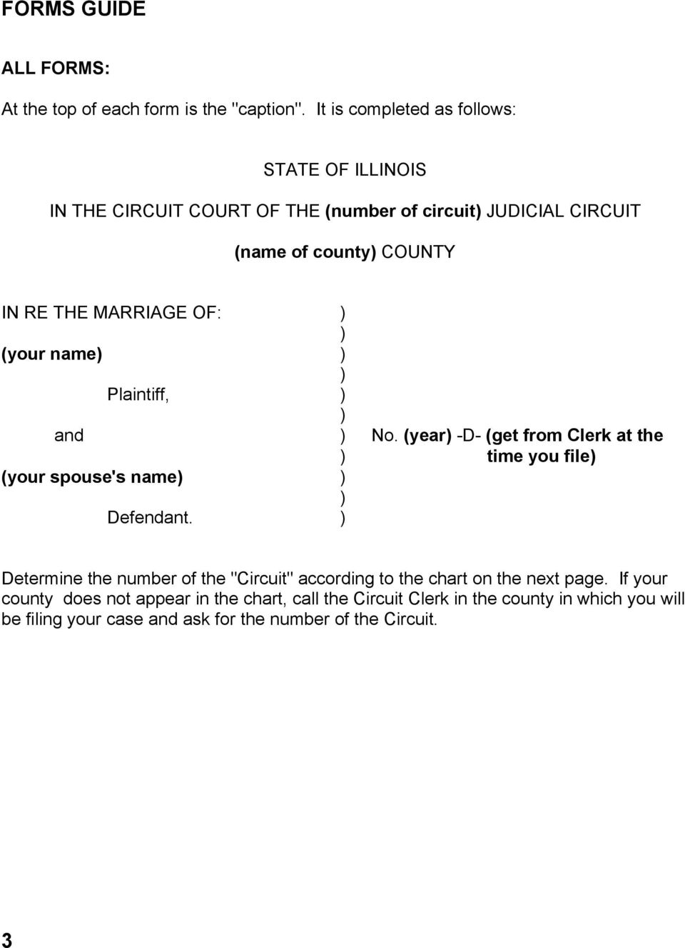 THE MARRIAGE OF: (your name Plaintiff, and No. (year -D- (get from Clerk at the time you file (your spouse's name Defendant.
