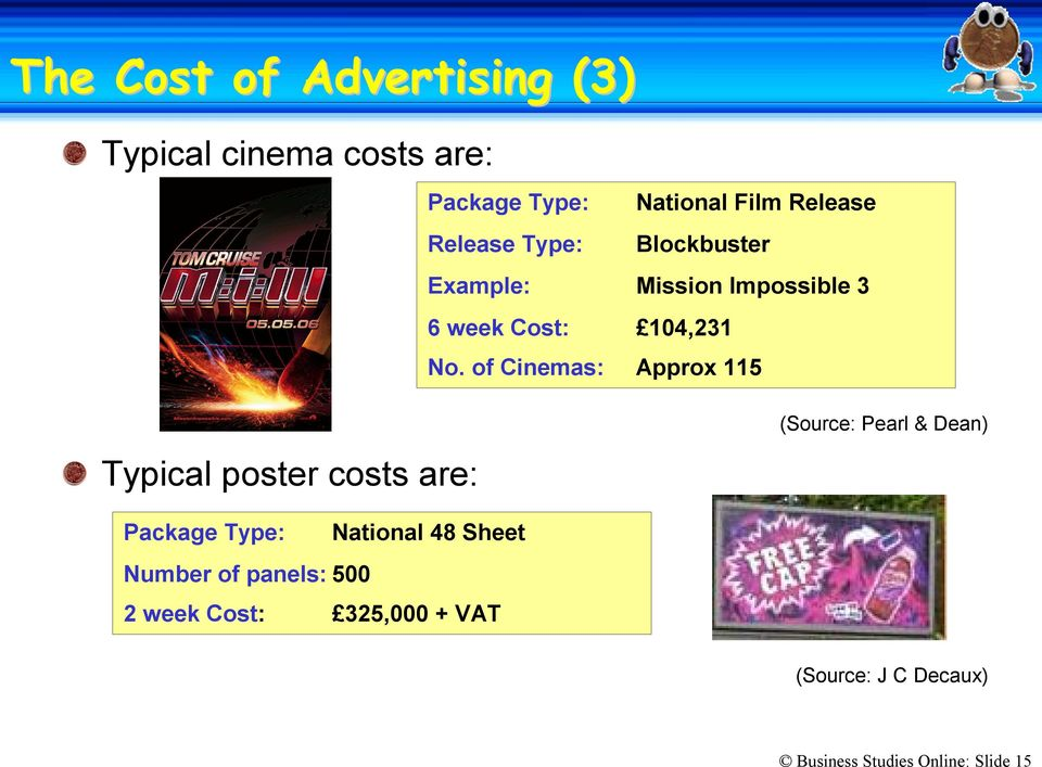 of Cinemas: Approx 115 Typical poster costs are: (Source: Pearl & Dean) Package Type: National