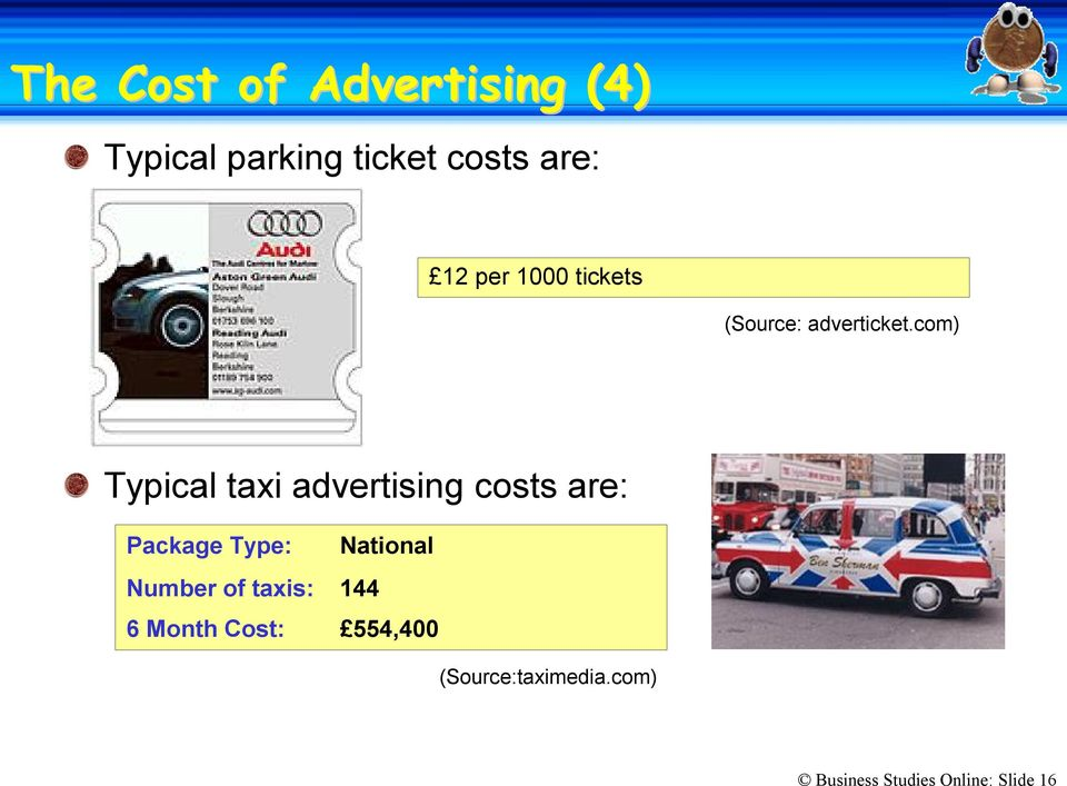 com) Typical taxi advertising costs are: Package Type: National