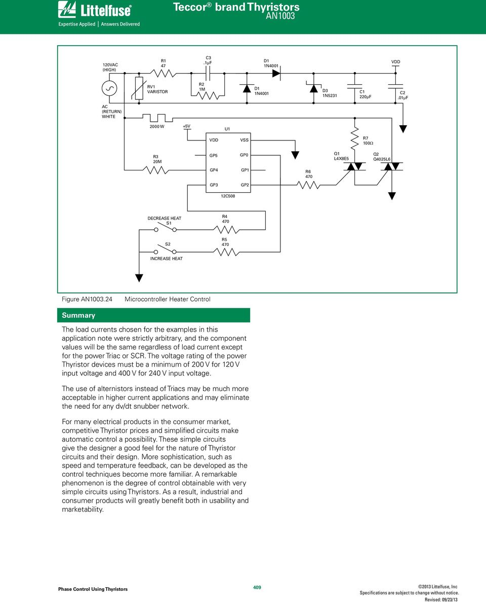 Phase Control Using Thyristors Pdf Scr And Triac Triggering Circuit With A Positive Power Supply 24 Microcontroller Heater Summary The Load Currents Chosen For Examples In This Application Note Were