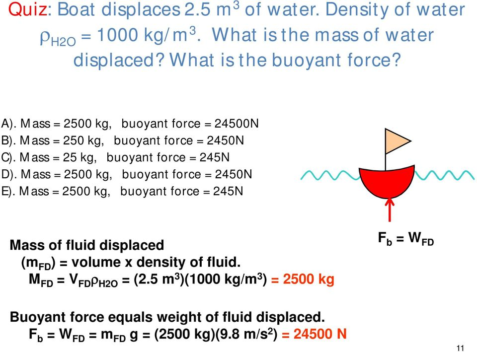 Mass = 2500 kg, buoyant force = 2450N E). Mass = 2500 kg, buoyant force = 245N Mass of fluid displaced (m FD ) = volume x density of fluid.