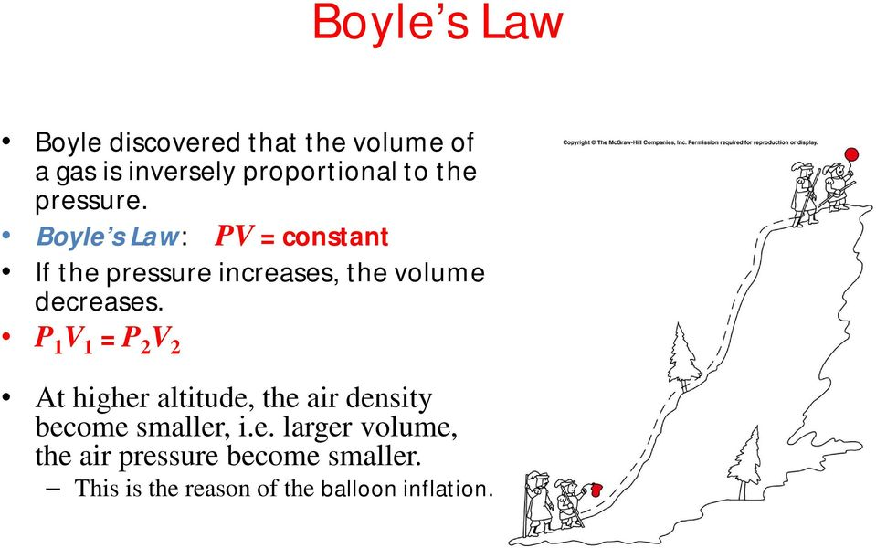 Boyle s Law: PV = constant If the pressure increases, the volume decreases.