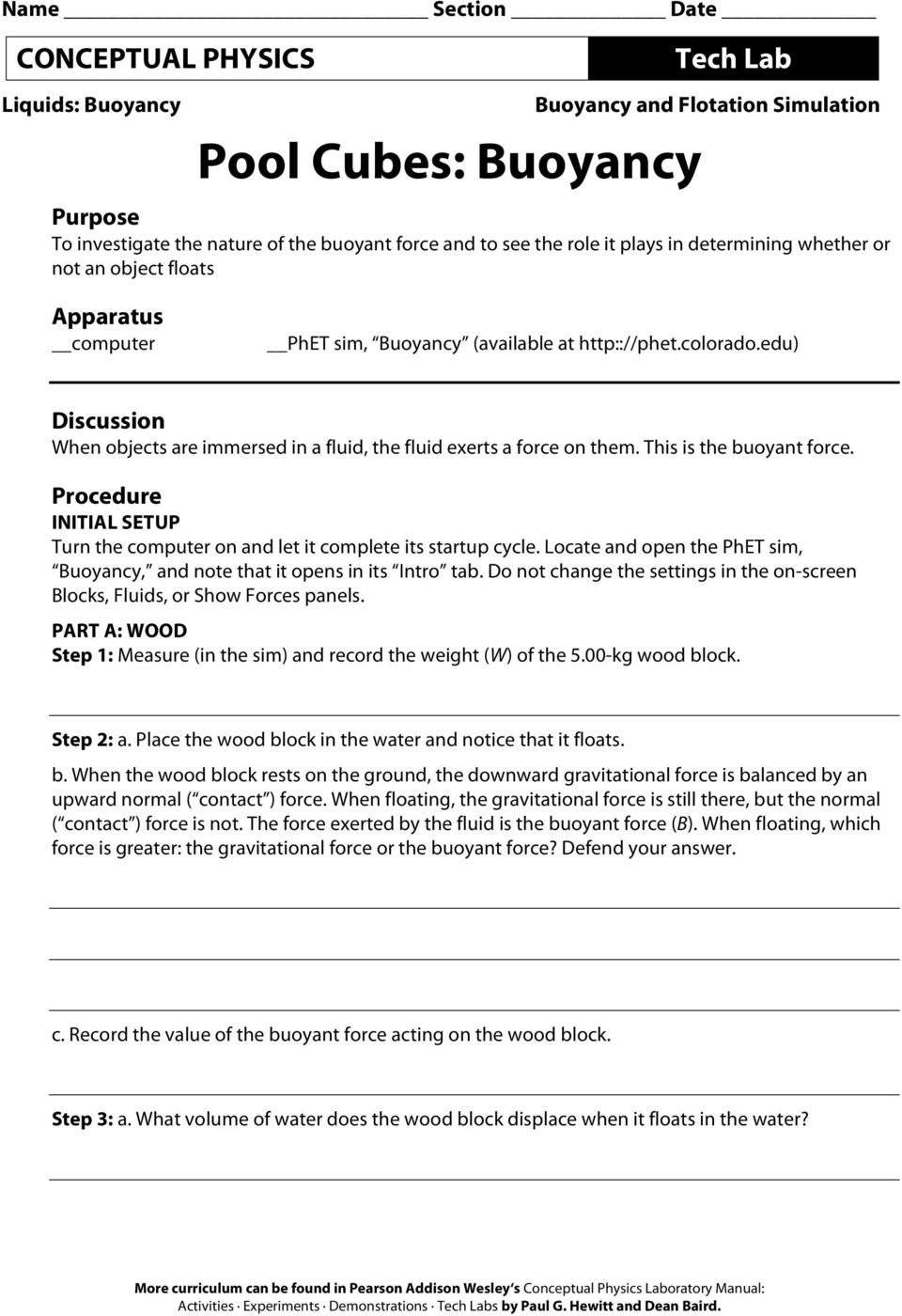 worksheet Buoyancy Worksheet pool cubes buoyancy pdf edu discussion when objects are immersed in a fluid the exerts force