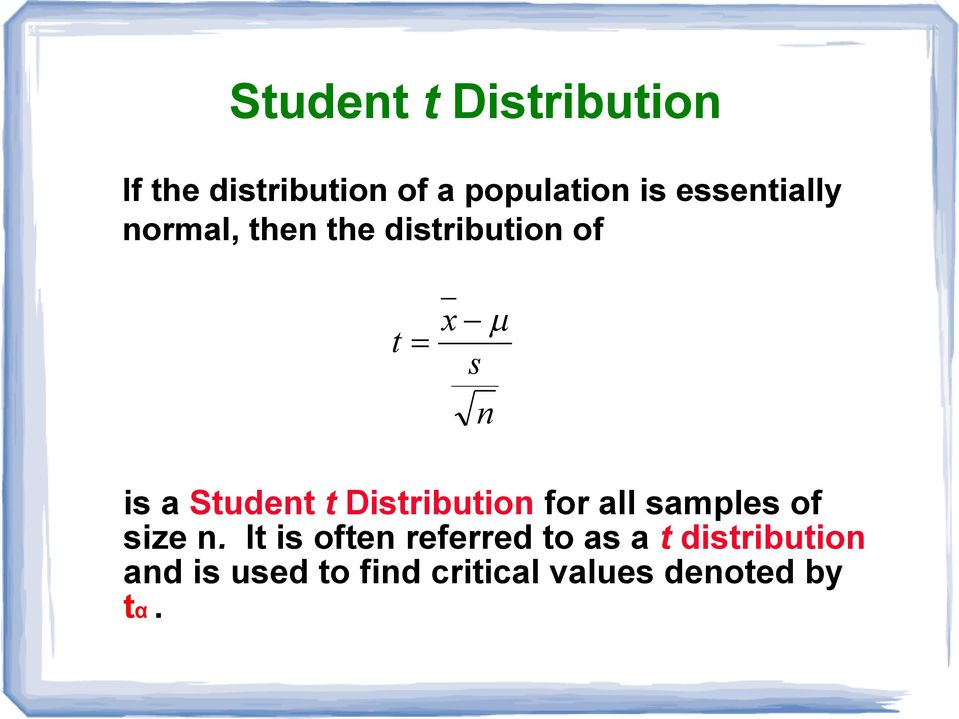 t Distribution for all samples of size n.