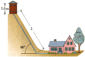 1.) A 10 m high water storage tank is at an elevation of 20 m above the town below and has water to a depth of 5 m inside.