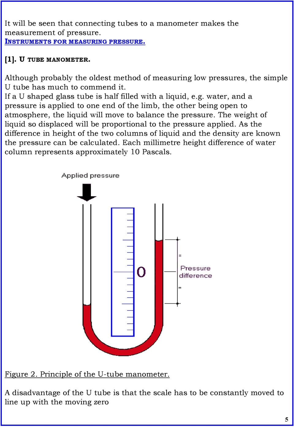 The weight of liquid so displaced will be proportional to the pressure applied. As the difference in height of the two columns of liquid and the density are known the pressure can be calculated.
