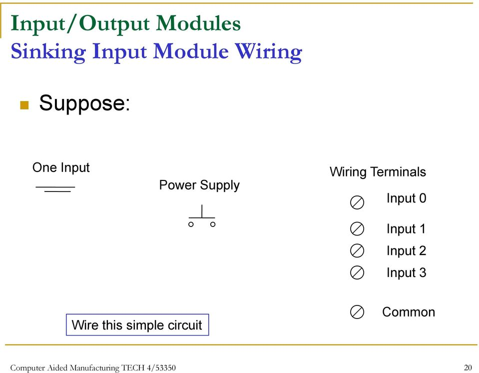 Input 1 Input 2 Input 3 Wire this simple