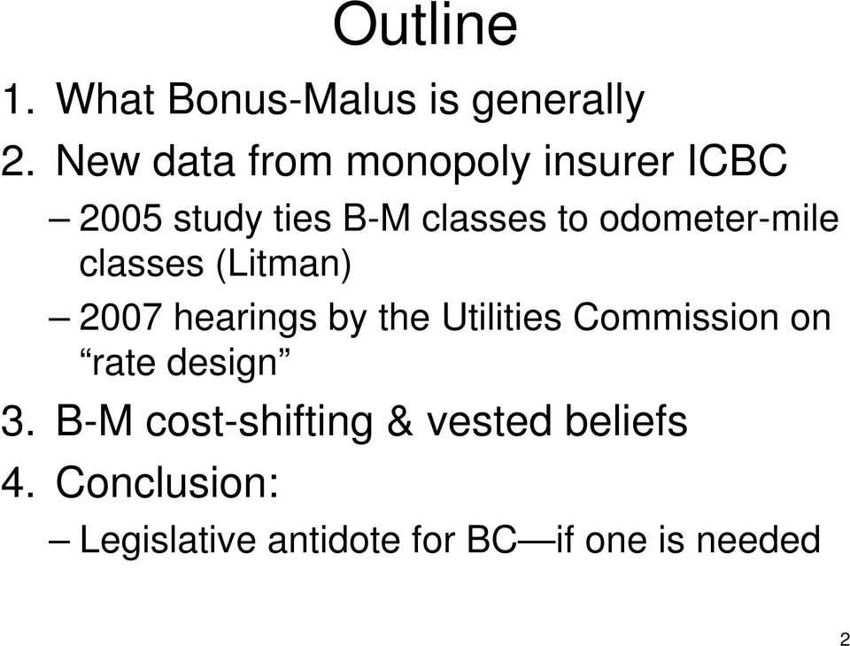odometer-mile classes (Litman) 2007 hearings by the Utilities Commission
