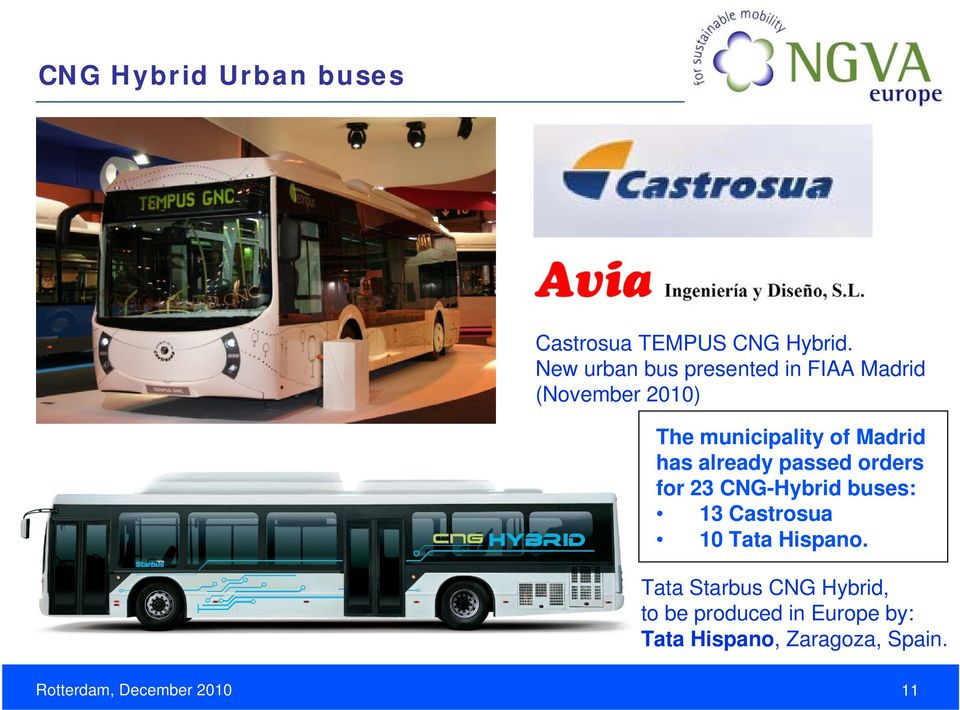 has already passed orders for 23 CNG-Hybrid buses: 13 Castrosua 10 Tata Hispano.