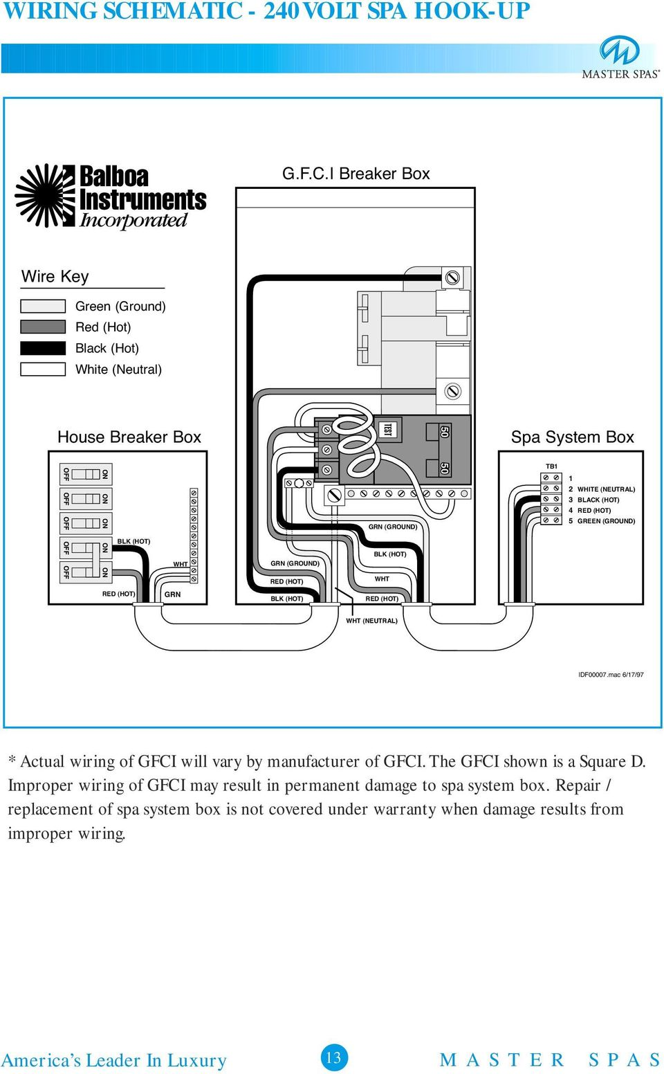 O W N E R S M A U L Pdf Garden Spa Wiring Diagram 240 Volt Hook Up Balboa Instruments Incorporated Gfc