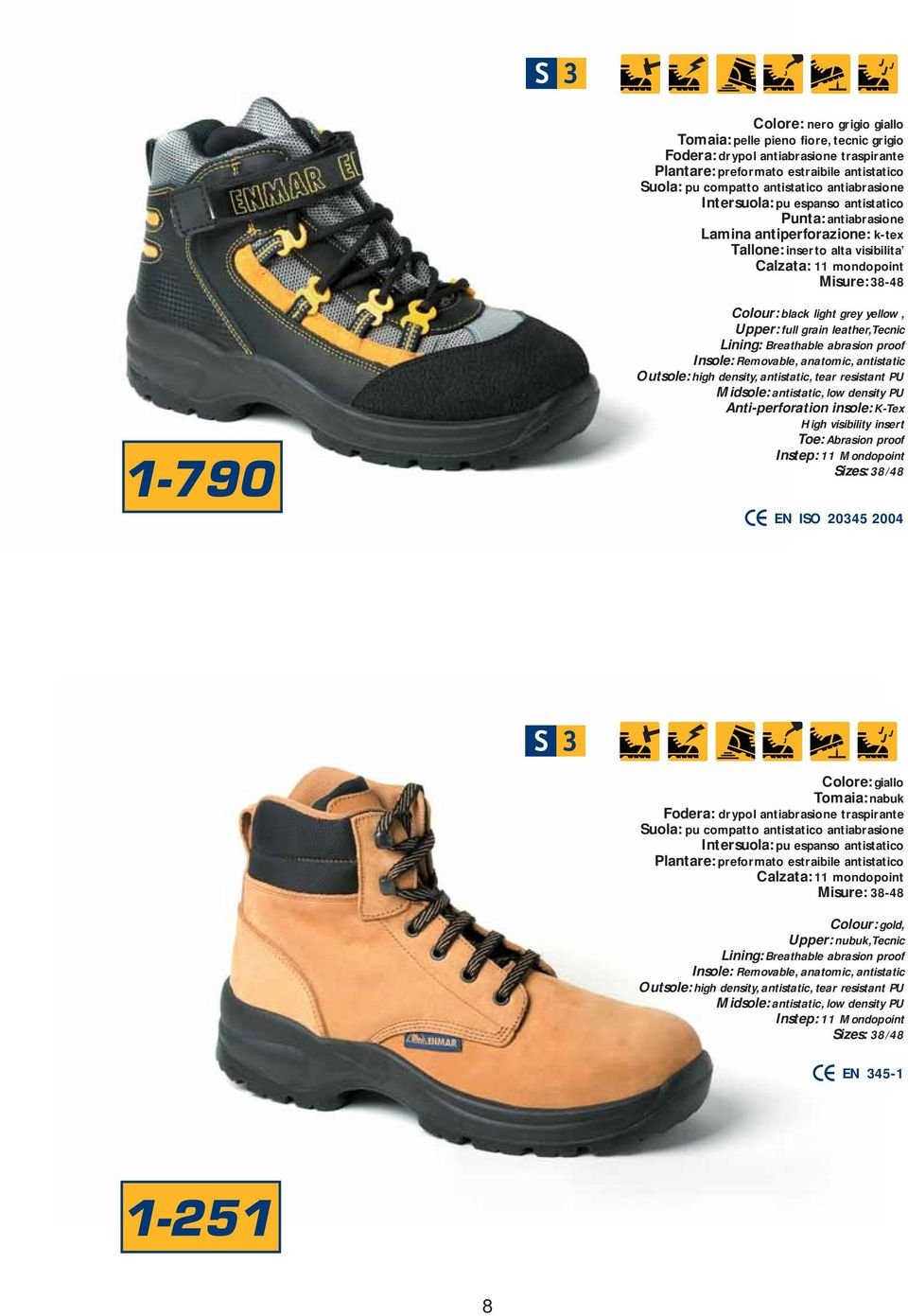 Upper: full grain leather, Tecnic Anti-perforation insole: K-Tex High visibility insert Toe: Abrasion proof EN IO 2045