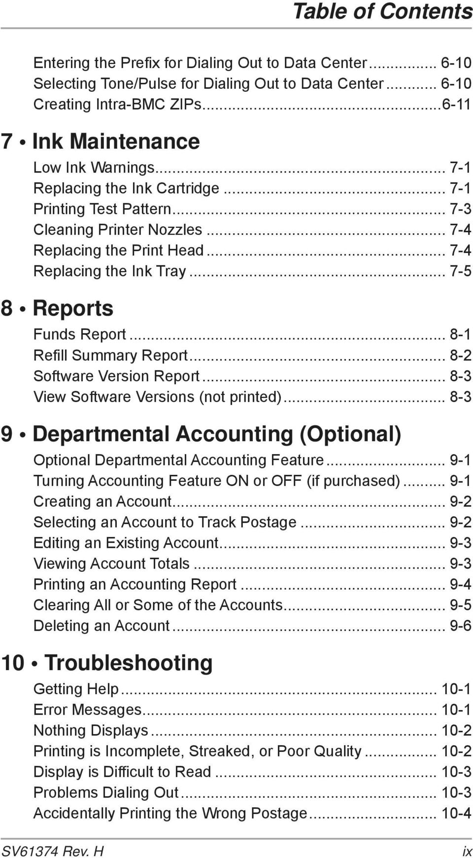 .. 7-5 8 Reports Funds Report... 8-1 Refill Summary Report... 8-2 Software Version Report... 8-3 View Software Versions (not printed).