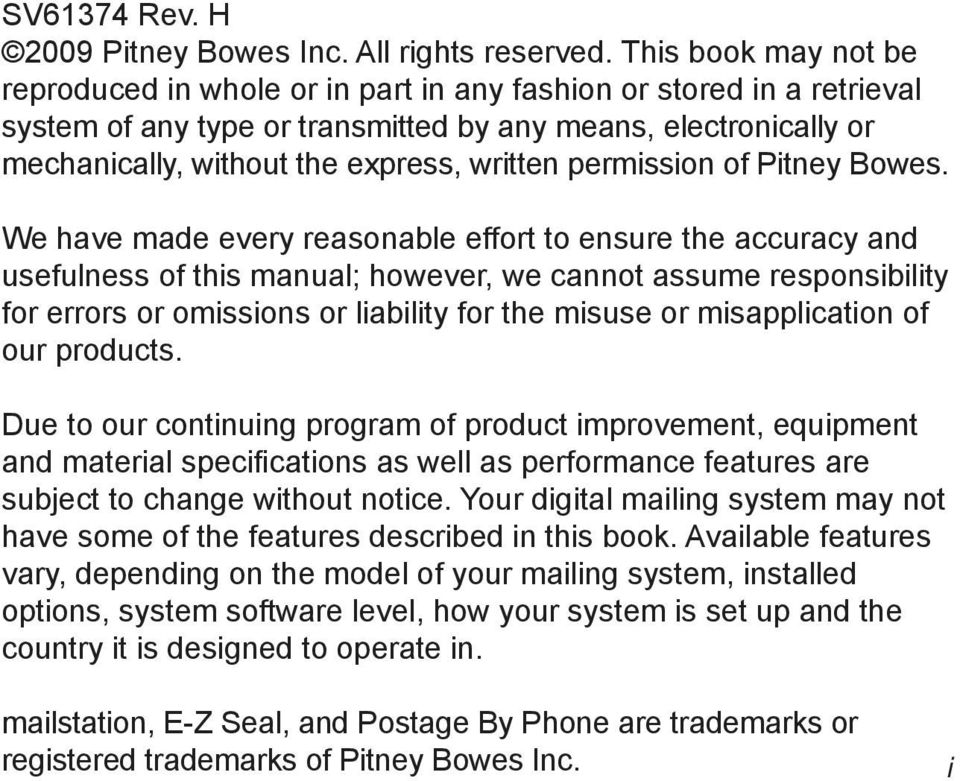 written permission of Pitney Bowes.