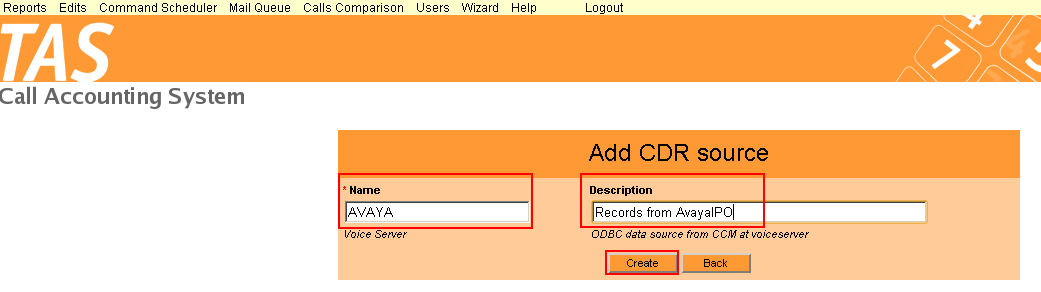 6.2. Add New CDR Source A new CDR source is configured on the TAS server defining the Name and providing a Description of the CDR Source.