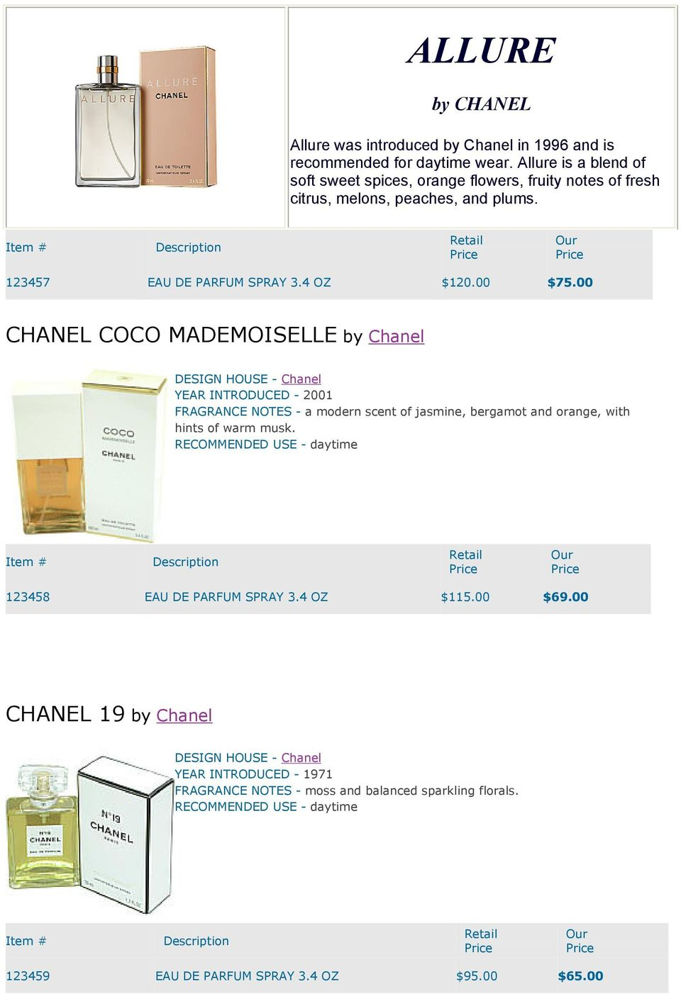 00 CHANEL COCO MADEMOISELLE by Chanel DESIGN HOUSE - Chanel YEAR INTRODUCED - 2001 FRAGRANCE NOTES - a modern scent of jasmine, bergamot and orange, with hints