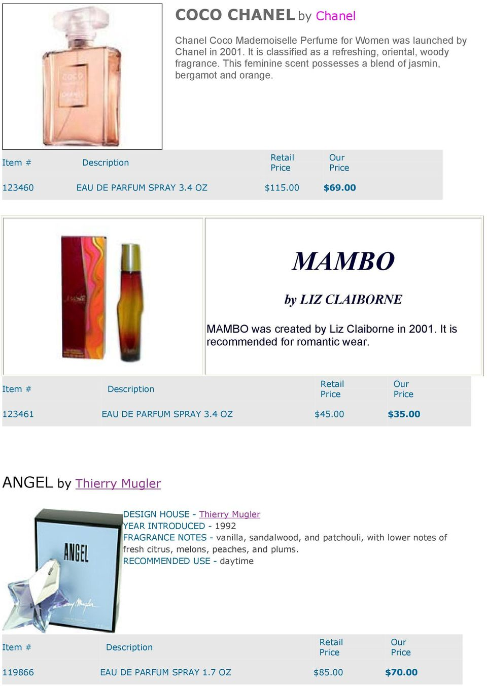 00 MAMBO by LIZ CLAIBORNE MAMBO was created by Liz Claiborne in 2001. It is recommended for romantic wear. 123461 EAU DE PARFUM SPRAY 3.4 OZ $45.00 $35.