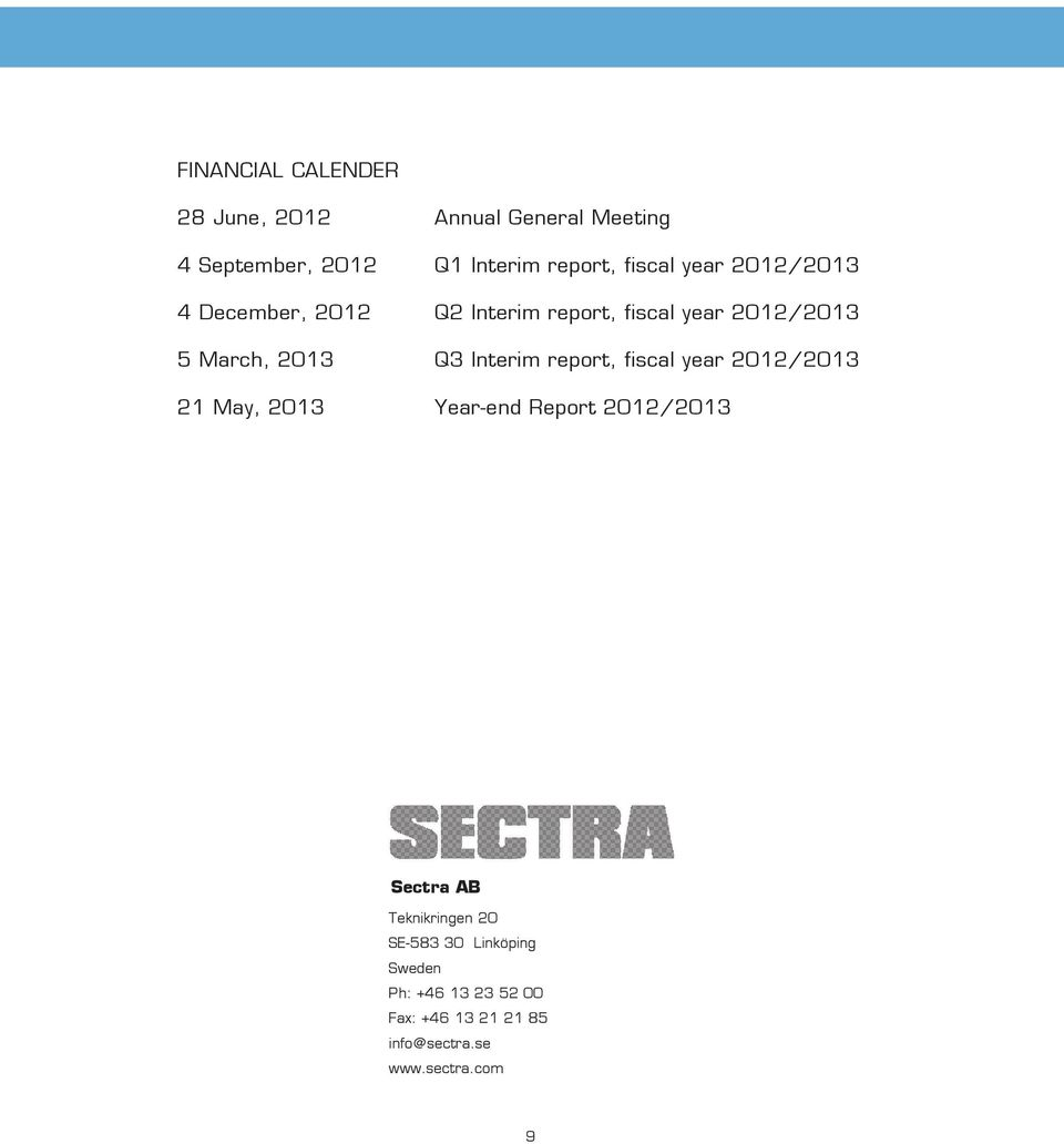 Interim report, fiscal year 2012/2013 21 May, 2013 Year-end Report 2012/2013 Sectra AB