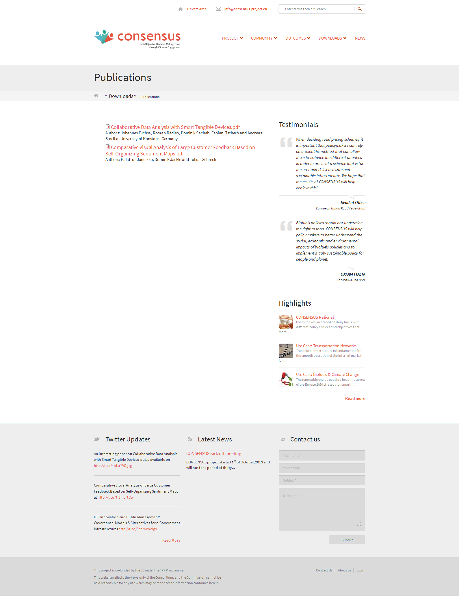 Publications webpage, as presented in the Figure 11 (Snapshot of the Publications page), provides access to the project publications that will be uploaded throughout the project period.