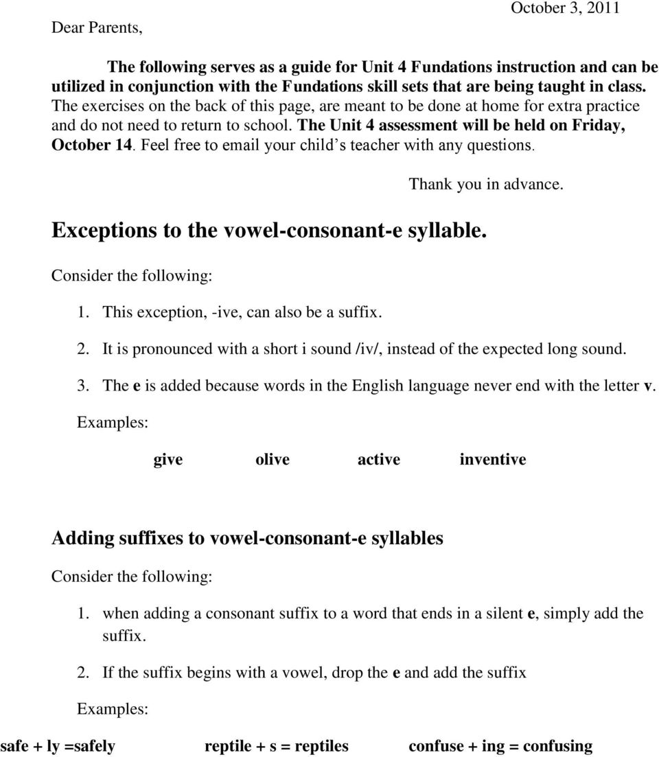 Exceptions To The Vowel Consonant E Syllable Pdf