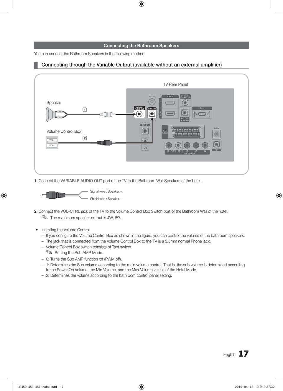 Lcd Tv Installation Manual Imagine The Possibilities Pdf Phone Jack Wiring Diagram 2010 Connect Variable Audio Out Port Of To Bathroom Wall Speakers