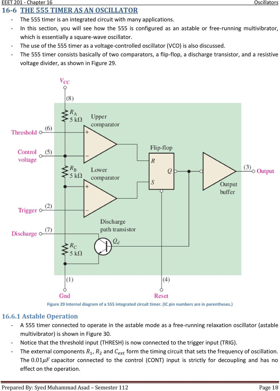 - The use of the 555 timer as a voltage-controlled oscillator (VCO) is also discussed.