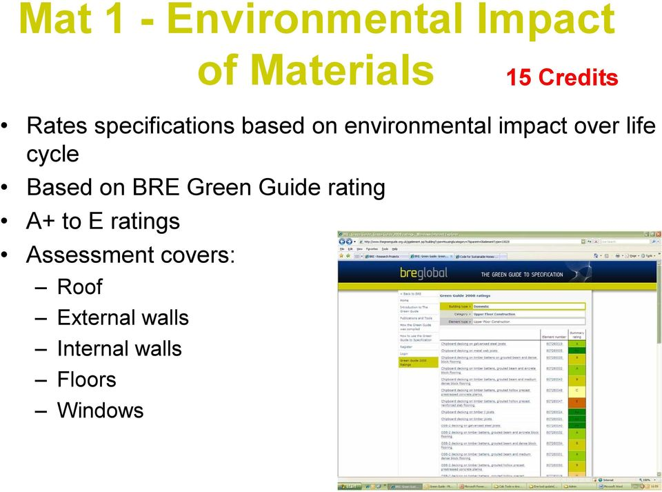 cycle Based on BRE Green Guide rating A+ to E ratings