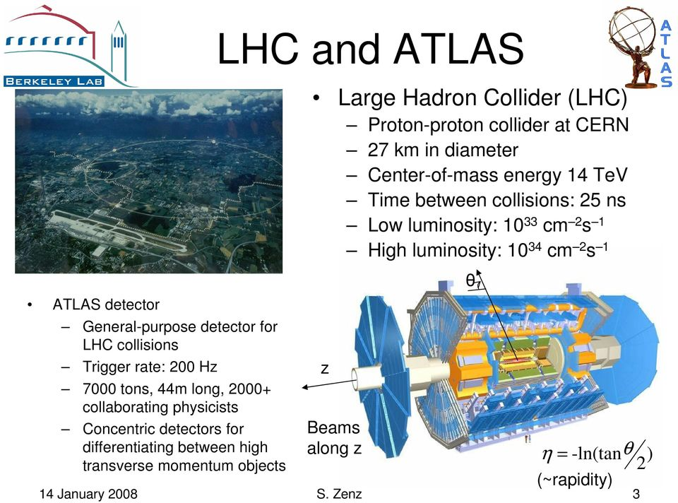 Collider (LHC) Proton-proton collider at CERN 27 km in diameter Center-of-mass energy 14 TeV Time between collisions: 25 ns