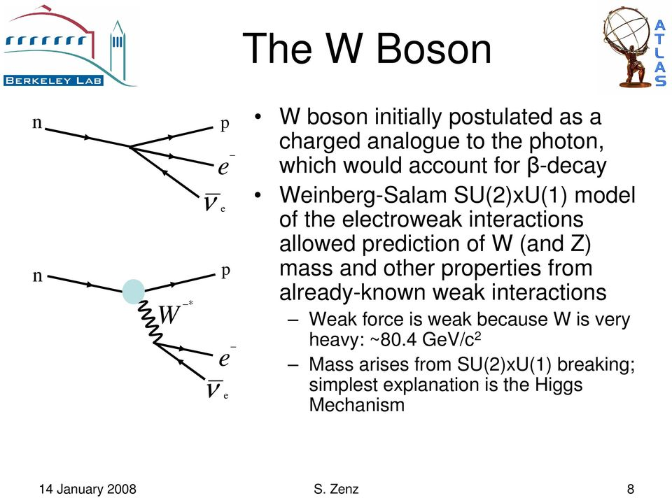Z) mass and other properties from already-known weak interactions Weak force is weak because W is very heavy: ~80.