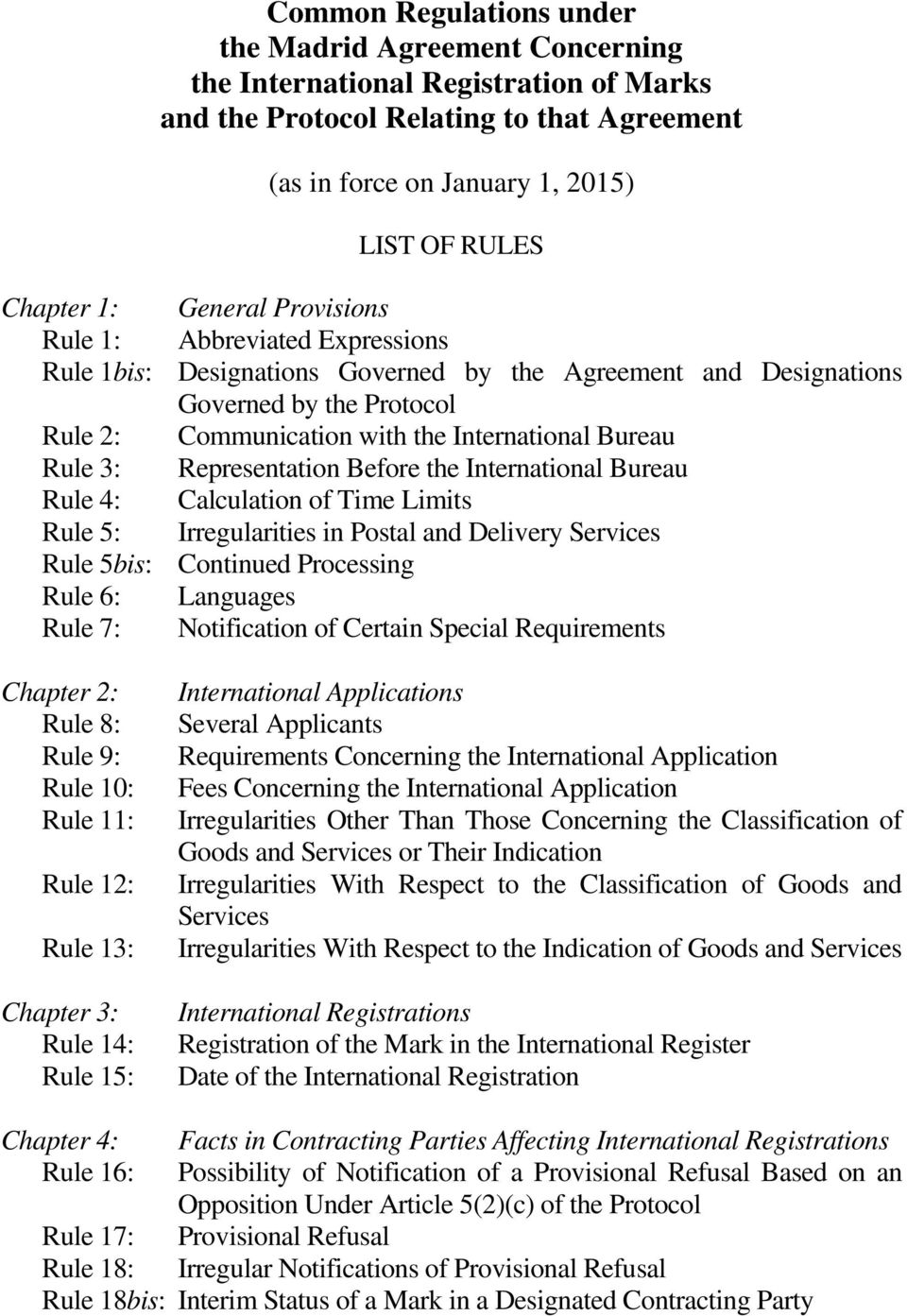 3: Representation Before the International Bureau Rule 4: Calculation of Time Limits Rule 5: Irregularities in Postal and Delivery Services Rule 5bis: Continued Processing Rule 6: Languages Rule 7: