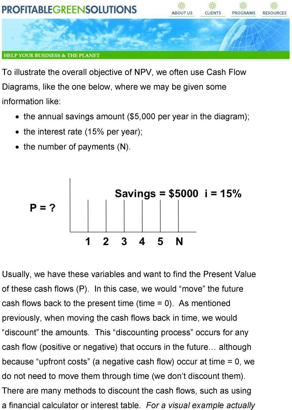 In this case, we would move the future cash flows back to the present time (time = 0). As mentioned previously, when moving the cash flows back in time, we would discount the amounts.