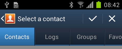 Message Select a contact Icons Contact, Logs Icons now removed in Select a contact function Gingerbread (v2. 3.