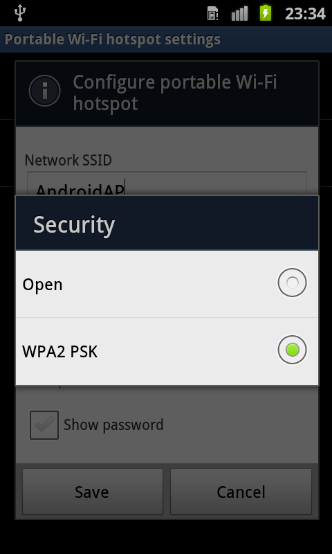 Network Setting Potable hotspot Additional security option added Gingerbread (v2. 3.6) WPA (Wi-Fi Protected Access) WPA - Pre shared Key (PSK) - can use 802.
