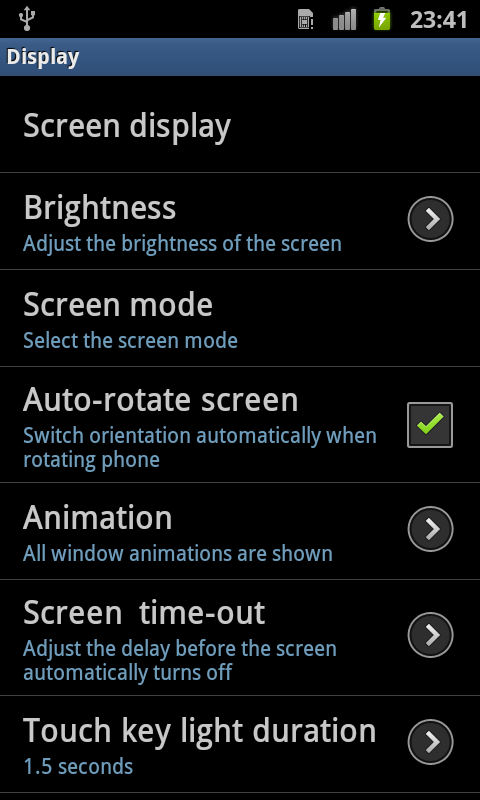Setting Auto rotation Access to Auto rotation setting now moved to Accessibility settings area Gingerbread (v2. 3.