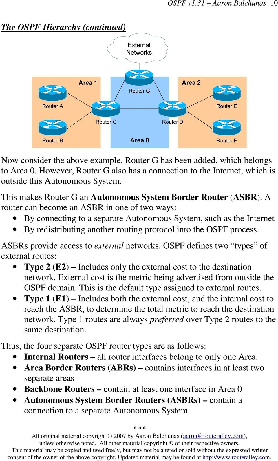 A router can become an ASBR in one of two ways: By connecting to a separate Autonomous System, such as the Internet By redistributing another routing protocol into the OSPF process.