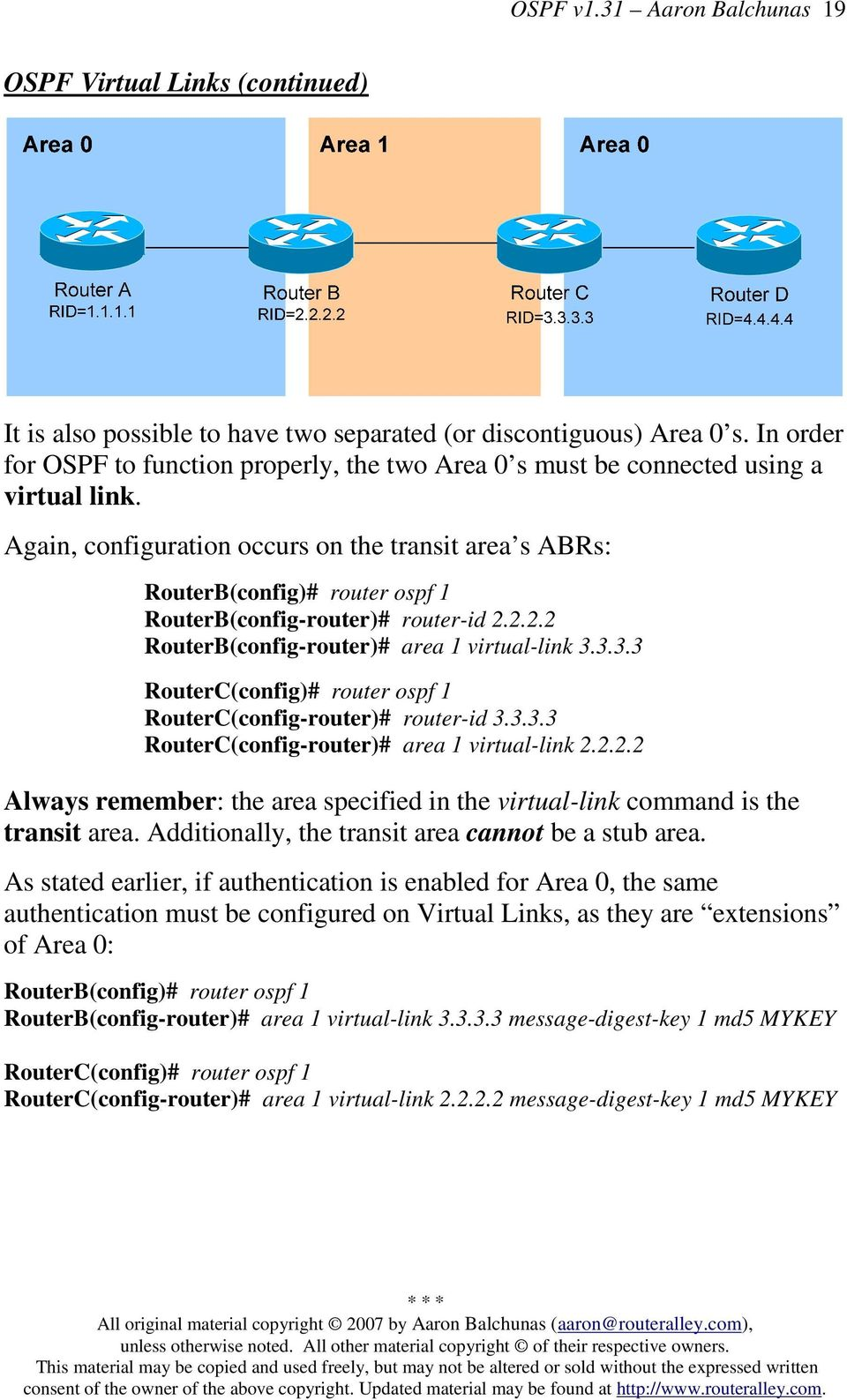 Again, configuration occurs on the transit area s ABRs: RouterB(config)# router ospf 1 RouterB(config-router)# router-id 2.2.2.2 RouterB(config-router)# area 1 virtual-link 3.