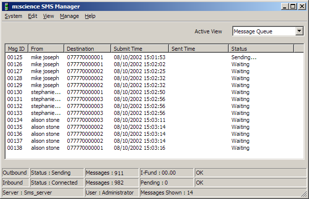 Queue Management Within the SMS Manager, an Administrator or Supervisor can monitor the message queues and individual messages in real-time.