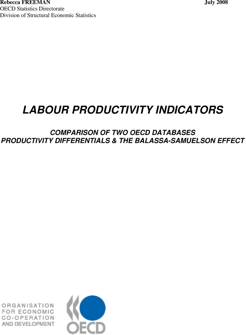 PRODUCTIVITY INDICATORS COMPARISON OF TWO OECD