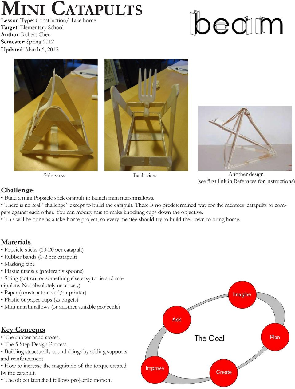 Mini Catapults Lesson Type Construction Take Home Target Catapult Motion Diagram Onager There Is No Predetermined Way For The Mentees To Compete Against Each Other You