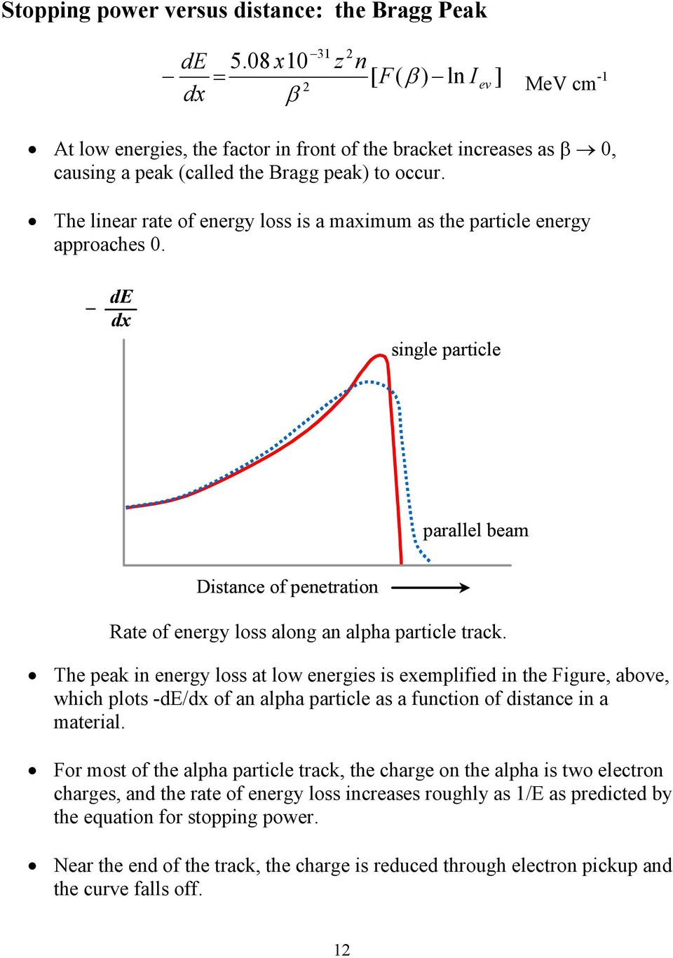 The linear rate of energy loss is a maximum as the particle energy approaches 0. de dx single particle parallel beam Distance of penetration Rate of energy loss along an alpha particle track.