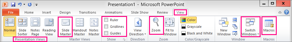 Things you might be looking for in PowerPoint 2013 (continued) Use the list below to find some of the more common tools and commands in PowerPoint 2013.