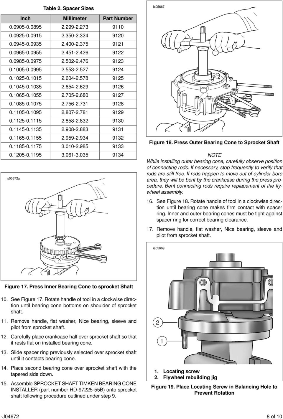 Press Outer Bearing Cone to Sprocket Shaft 0.05-0.95 is0567a.06-.05 9 NOTE While installing outer bearing cone, carefully observe position of connecting rods.