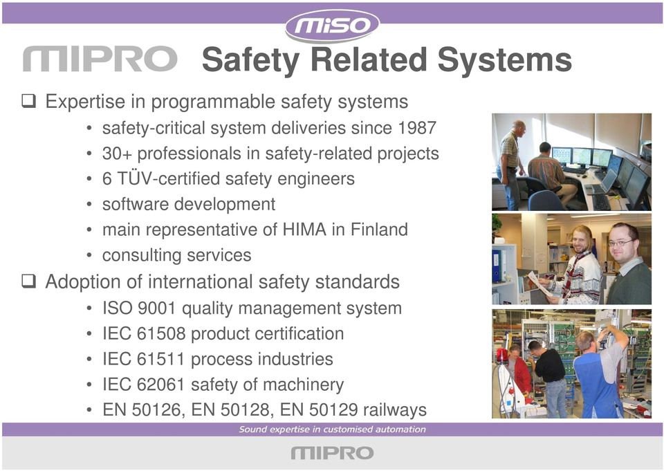 HIMA in Finland consulting services Adoption of international safety standards ISO 9001 quality management system IEC
