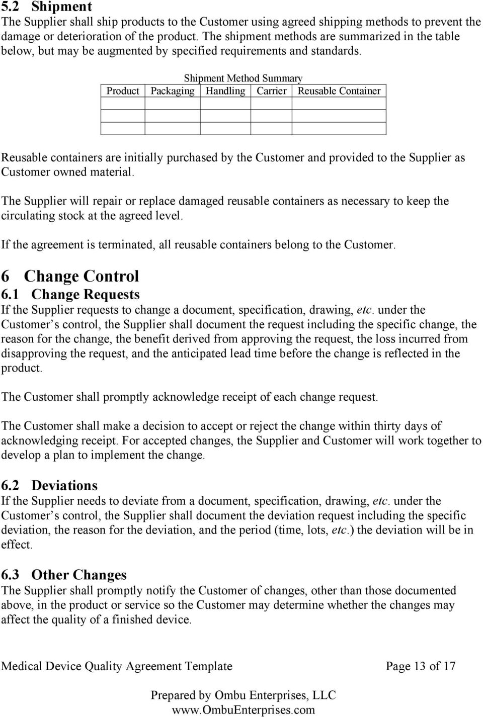 Medical Device Quality Agreement Template Pdf