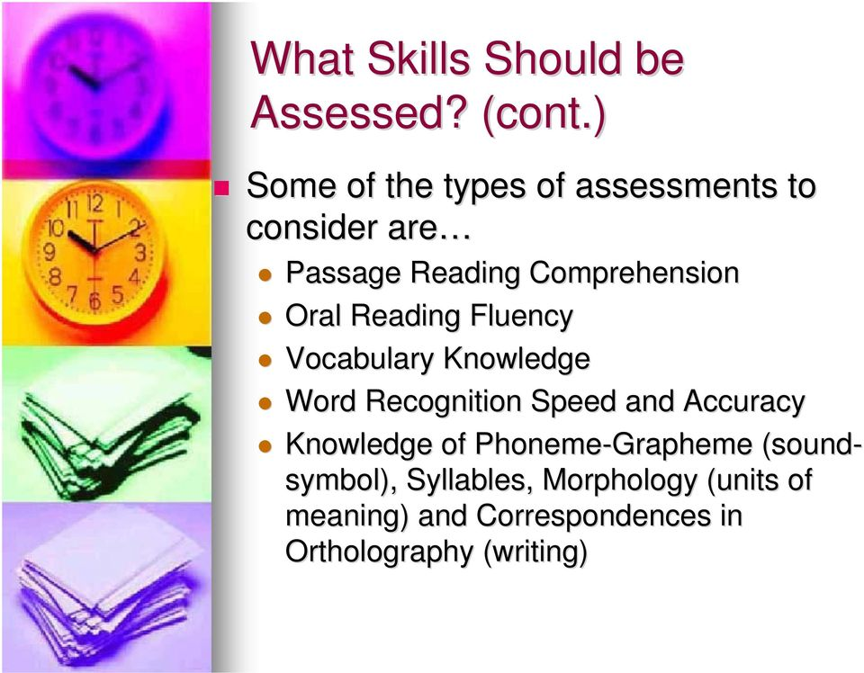 Oral Reading Fluency Vocabulary Knowledge Word Recognition Speed and Accuracy