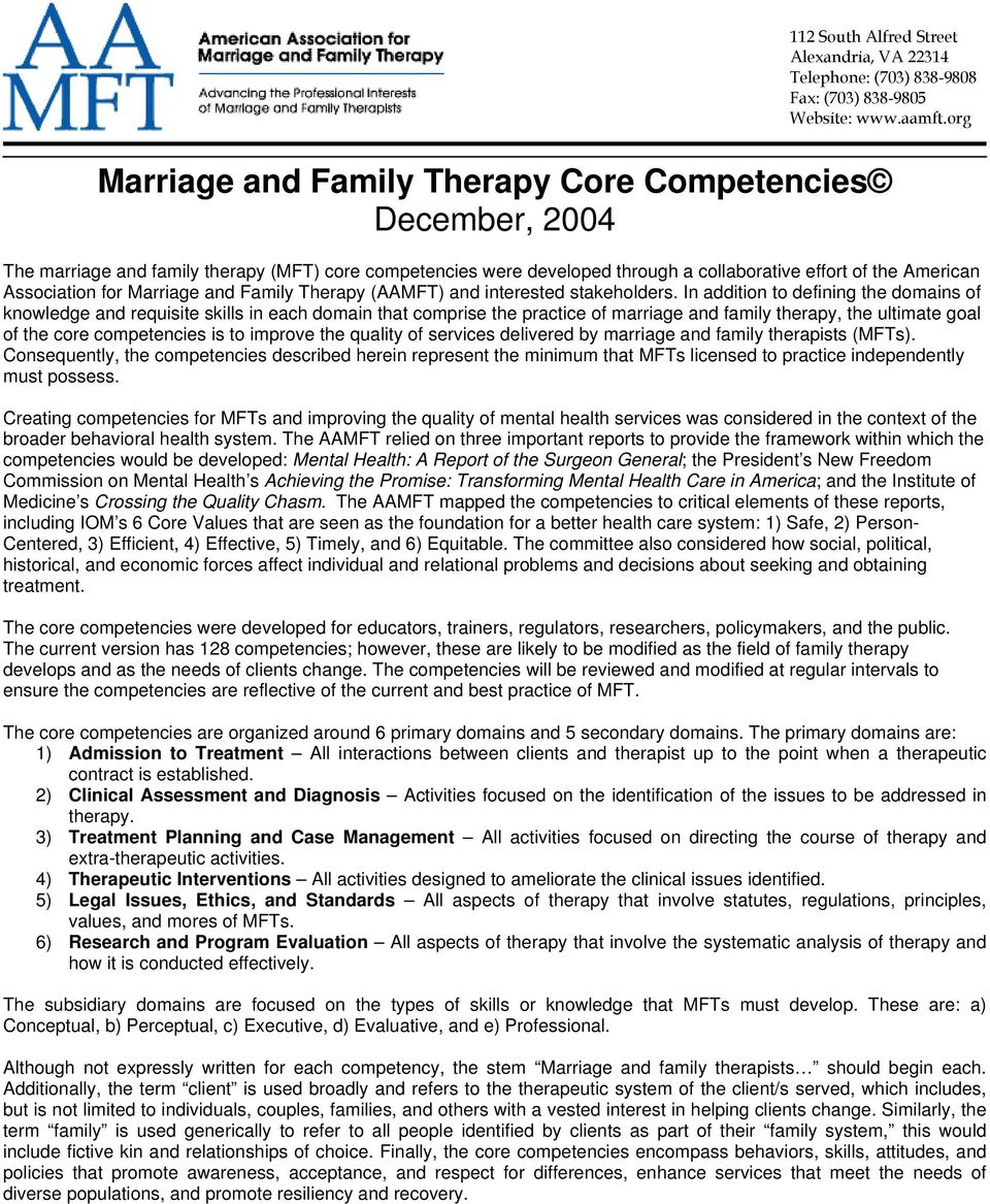 Marriage and Family Therapy (AAMFT) and interested stakeholders.
