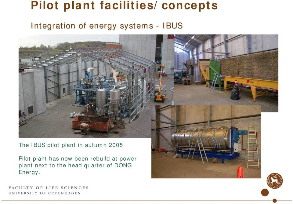 autumn 2005 Pilot plant has now been rebuild at
