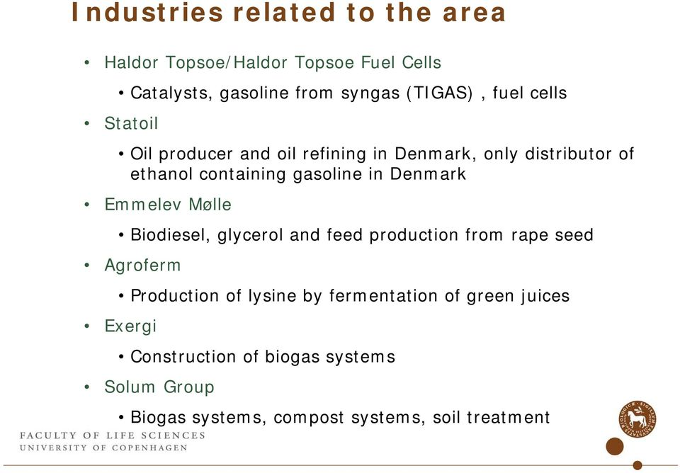 Denmark Emmelev Mølle Biodiesel, glycerol and feed production from rape seed Agroferm Production of lysine by
