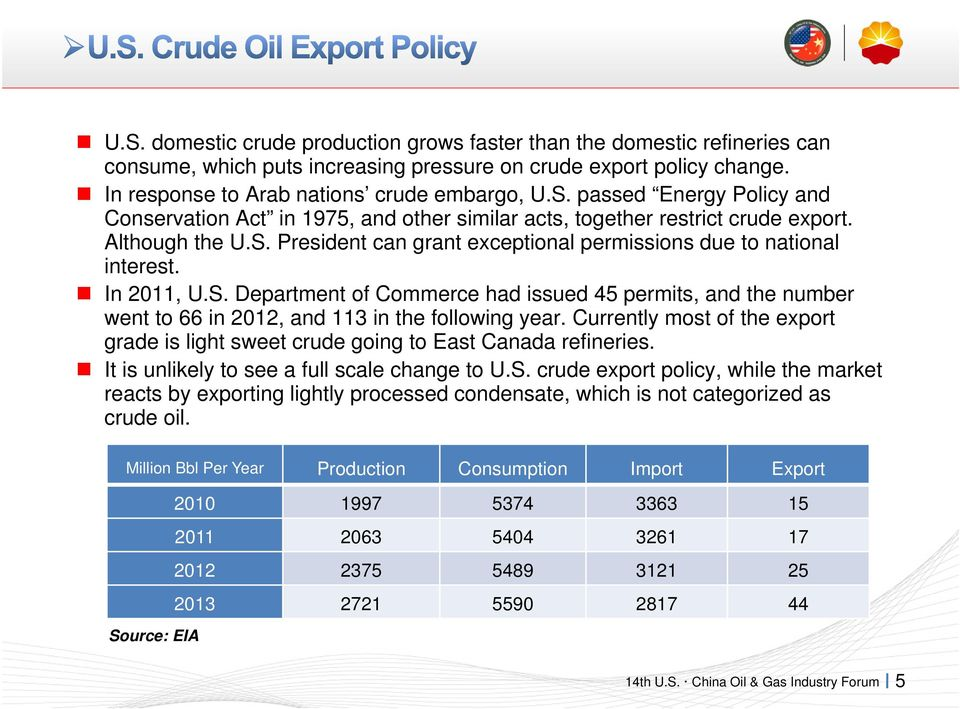 Currently most of the export grade is light sweet crude going to East Canada refineries. It is unlikely to see a full scale change to U.S.