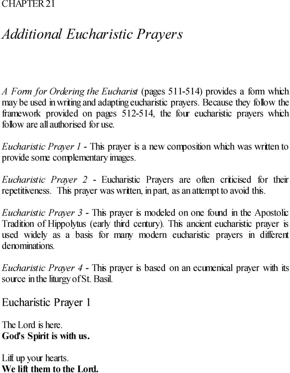 Eucharistic Prayer 1 - This prayer is a new composition which was written to provide some complementary images.